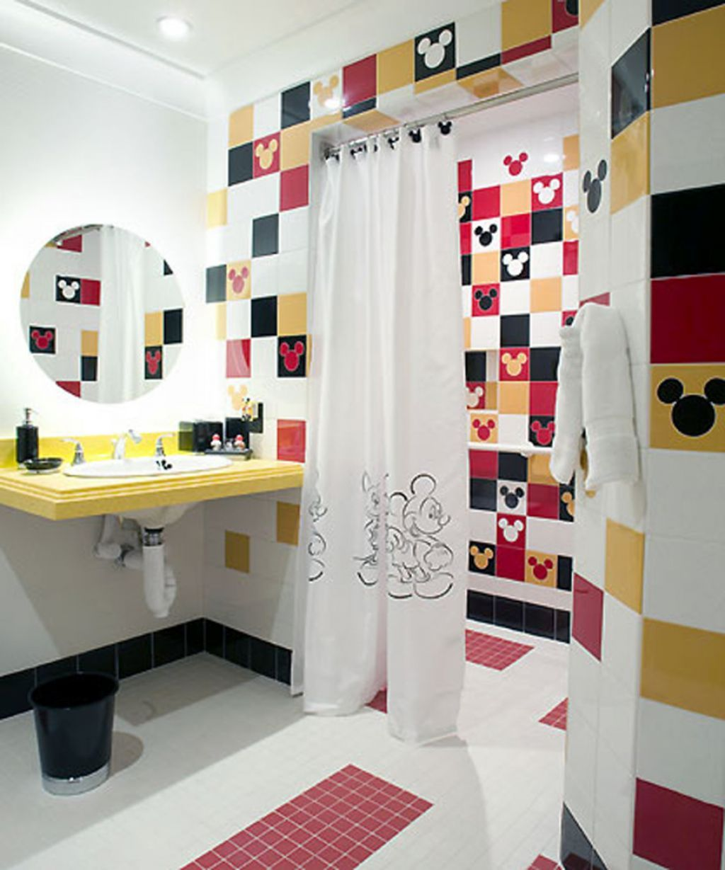 Quite Mickey Mouse Theme In Kids Bathroom Ideas With Wall