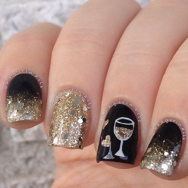 Latest New Year Nail Art Designs 2016 For This Season - 100 Cute And Easy Glitter Nail Designs Ideas To Rock This Year