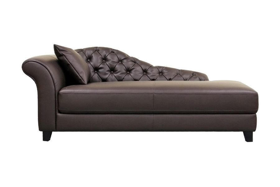 Furniture Stunning Black Leather Meridienne Chaise Lounge Chair With