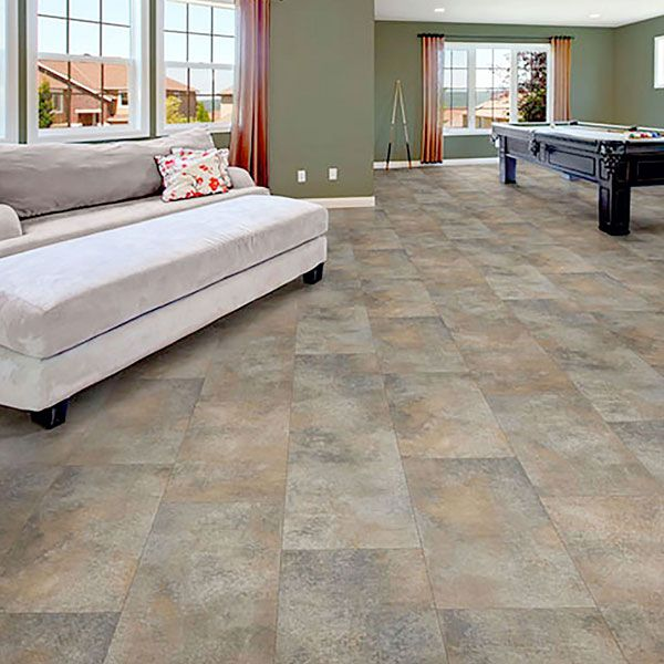 this luxury sheet vinyl uses an updated tile size 12 x 24 and an