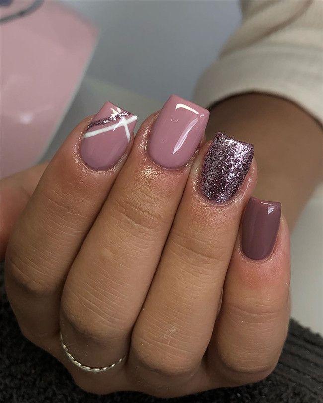 45 Acrylic Short Nail Designs Ideas Brings New Inspiration In 2020 In 2020 Shellac Nails Fall Dipped Nails Short Acrylic Nails Designs