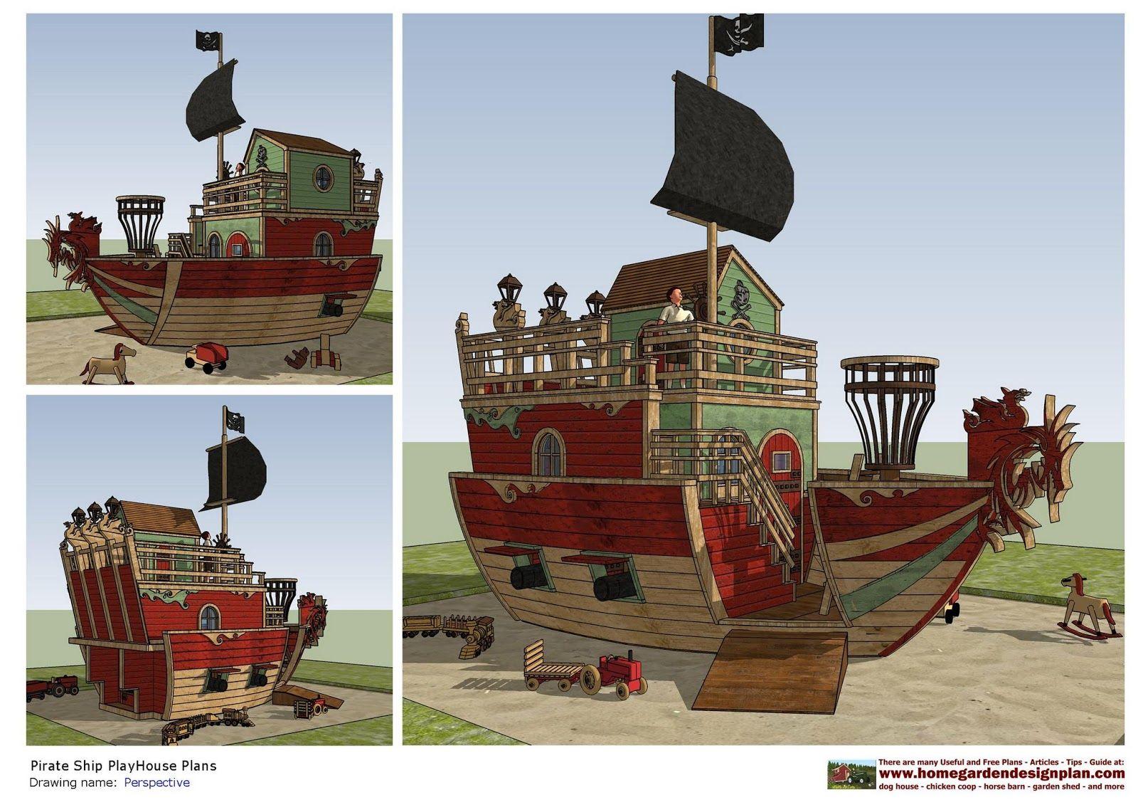 Home Garden Plans: PS100   Pirates Ship PlayHouse Plans   PlayHouse Design    PlayHouse Plans Construction