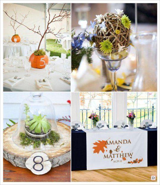 Mariage automne decoration table boule corde chemin de - Deco table automne ...