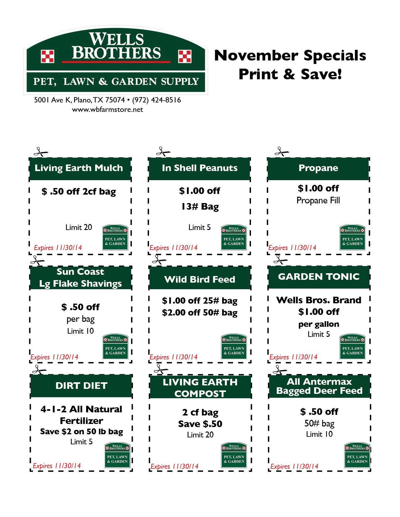 SAVE! Wells Brothers Farm Store November Coupons! Visit us