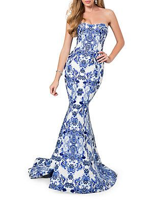 200bec09837 Glamour by Terani Couture Paisley-Print Strapless Train Gown ...