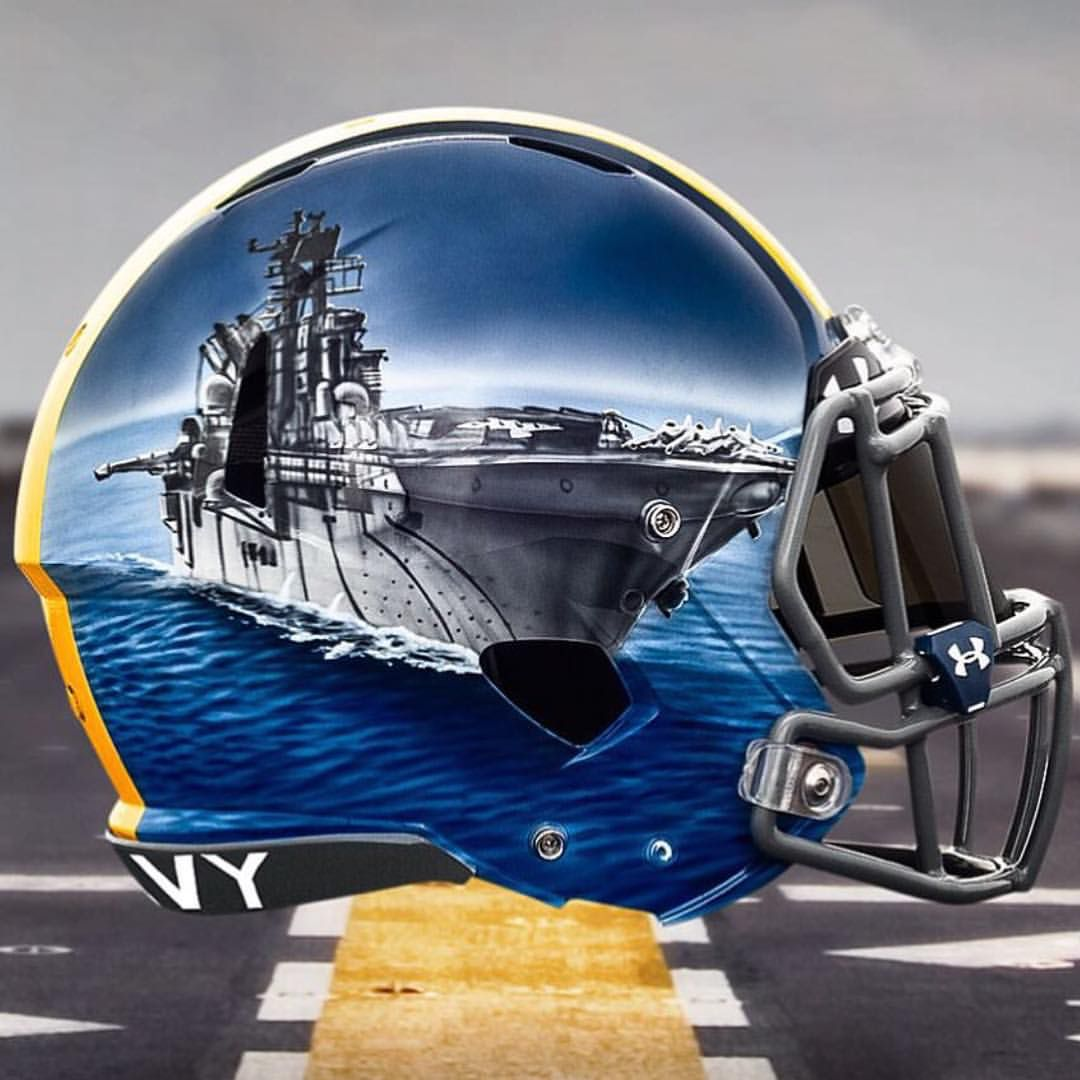 Football Helmet Painting : Naval academy hand painted alternate helmets college