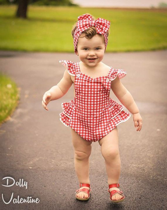 Vintage Style Baby Dolly Ruffle Sun Suit Romper by dollyvalentine