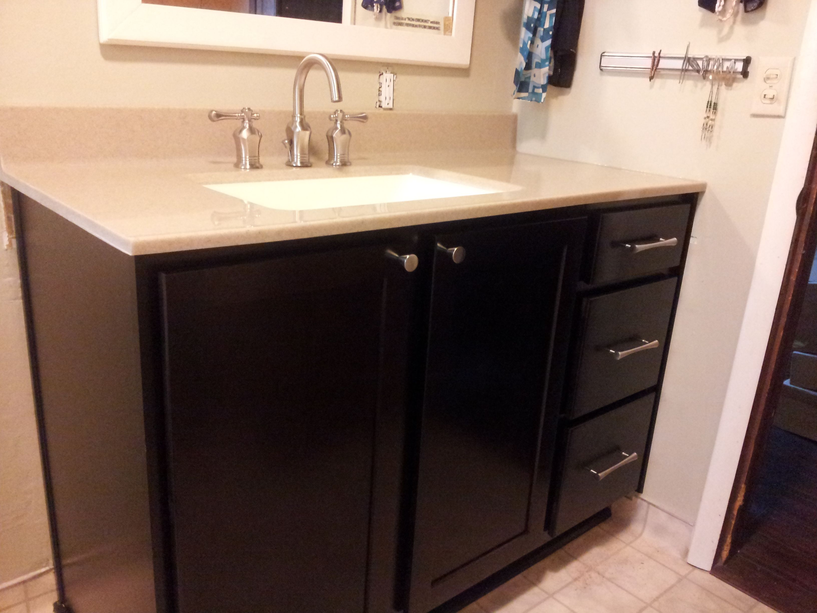 Bathroom Vanity Done With Merillat Basic Cabinets Onyx Collection Top S And Pulls By Hardware Resources Faucet Pegasus