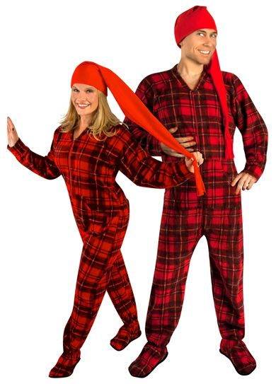 63fbcc463 Red Plaid Fleece Adult Footed Pajamas with Drop Seat and Long Night ...