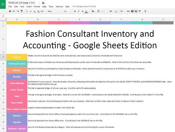GOOGLE VERSION Fashion Consultant Inventory by EZPZSpreadsheets - sales analysis
