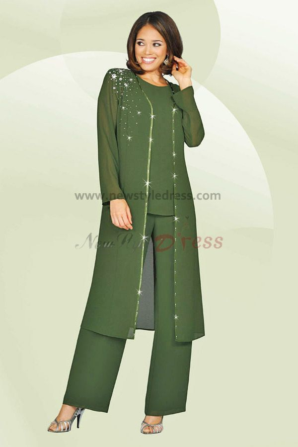 Sage Three Piece mother of the bride pants suits with long jacket ...