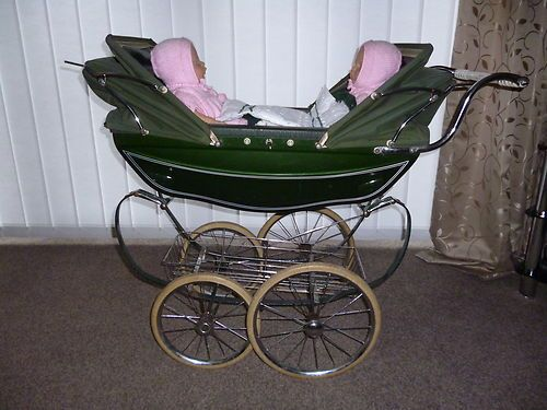 vintage silver cross dolls twin pram berceau poussette et landau poupee. Black Bedroom Furniture Sets. Home Design Ideas