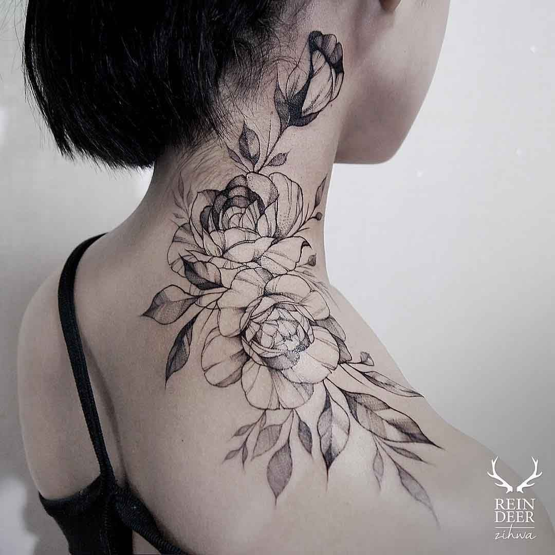 Rose Tattoo On Neck Neck Tattoos Women Rose Neck Tattoo Flower Neck Tattoo
