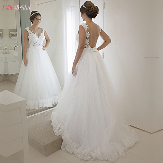 White Princess Wedding Dresses Lace Summer Church Sexy Backless ...