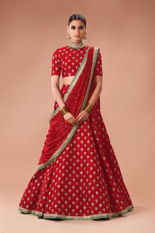 37d64d111cdf7 Red Butti Work Latest Ghagra Choli Designs