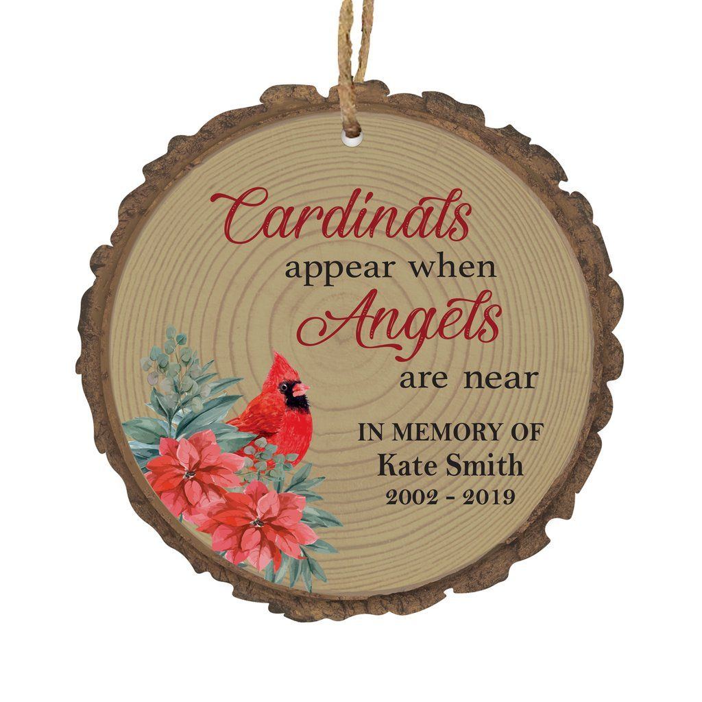Personalized Memorial Christmas Bark Ornament Cardinals