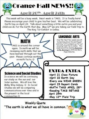 Classroom Newsletter Template With Example    Communication