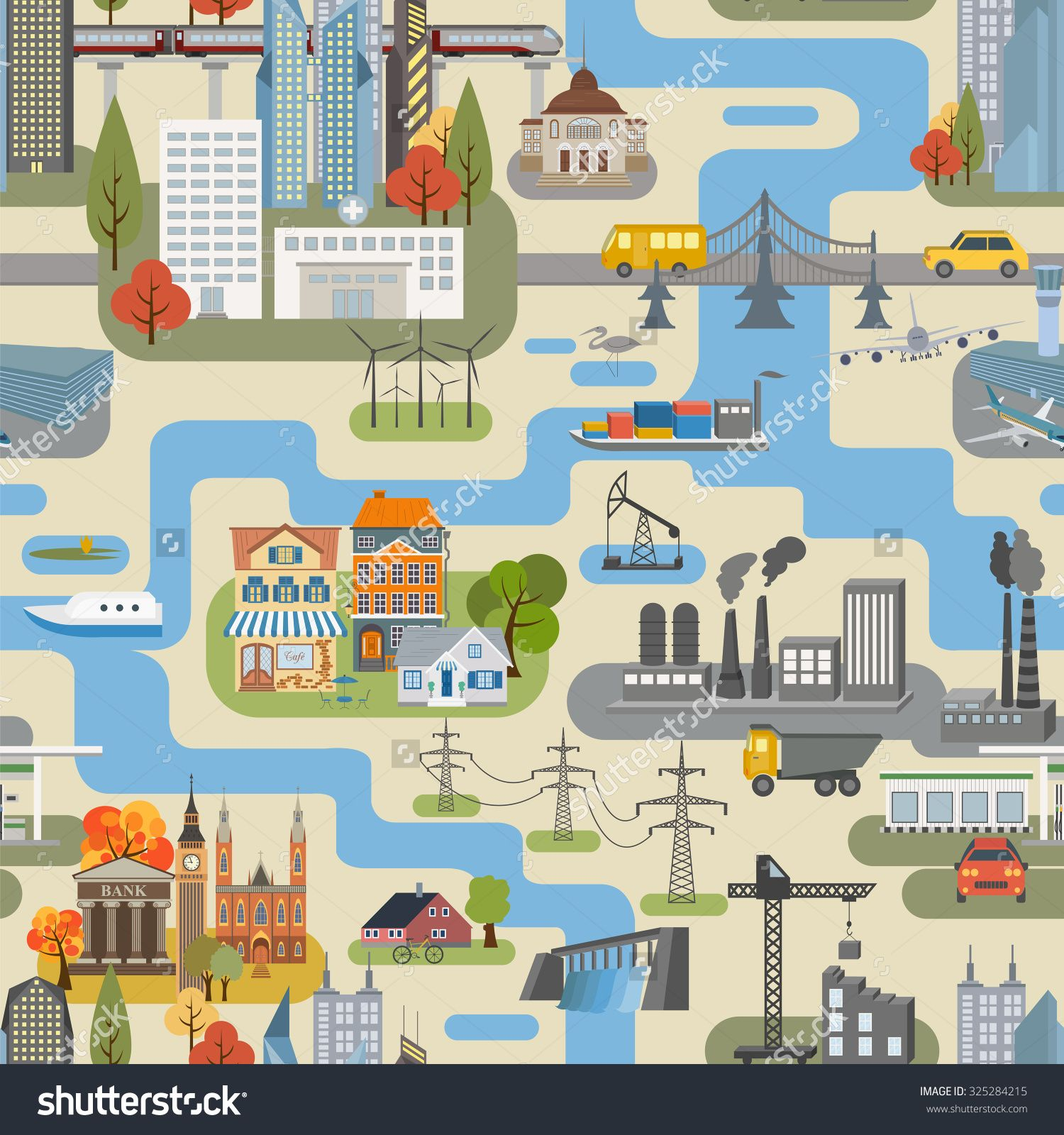 great city map creatorseamless pattern map houses infrastructure industrial transport - House Map Creator