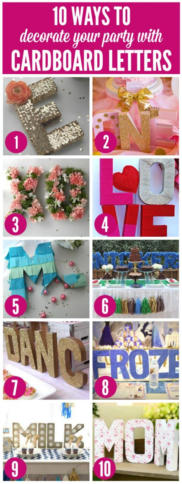 10 great ideas for decorating your parties with cardboard letters | CatchMyParty.com