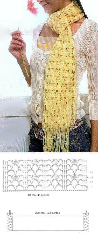 patron bufanda-estola-foulard-crochet-otakulandia.es (1) | Bordados ...