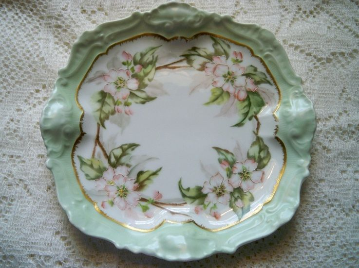 antique limoges france hand painted apple blossom porcelain plate china beauties pinterest. Black Bedroom Furniture Sets. Home Design Ideas