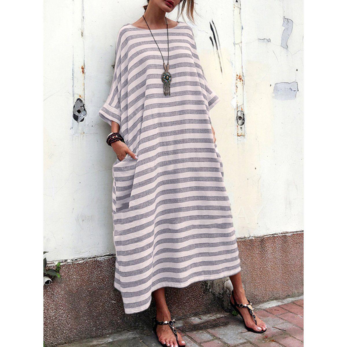 Cocoon Women Daily Casual 3 4 Sleeve Pockets Striped Summer Dress Pocket Maxi Dress Loose Maxi Dress Maxi Shift Dress [ 1200 x 1200 Pixel ]