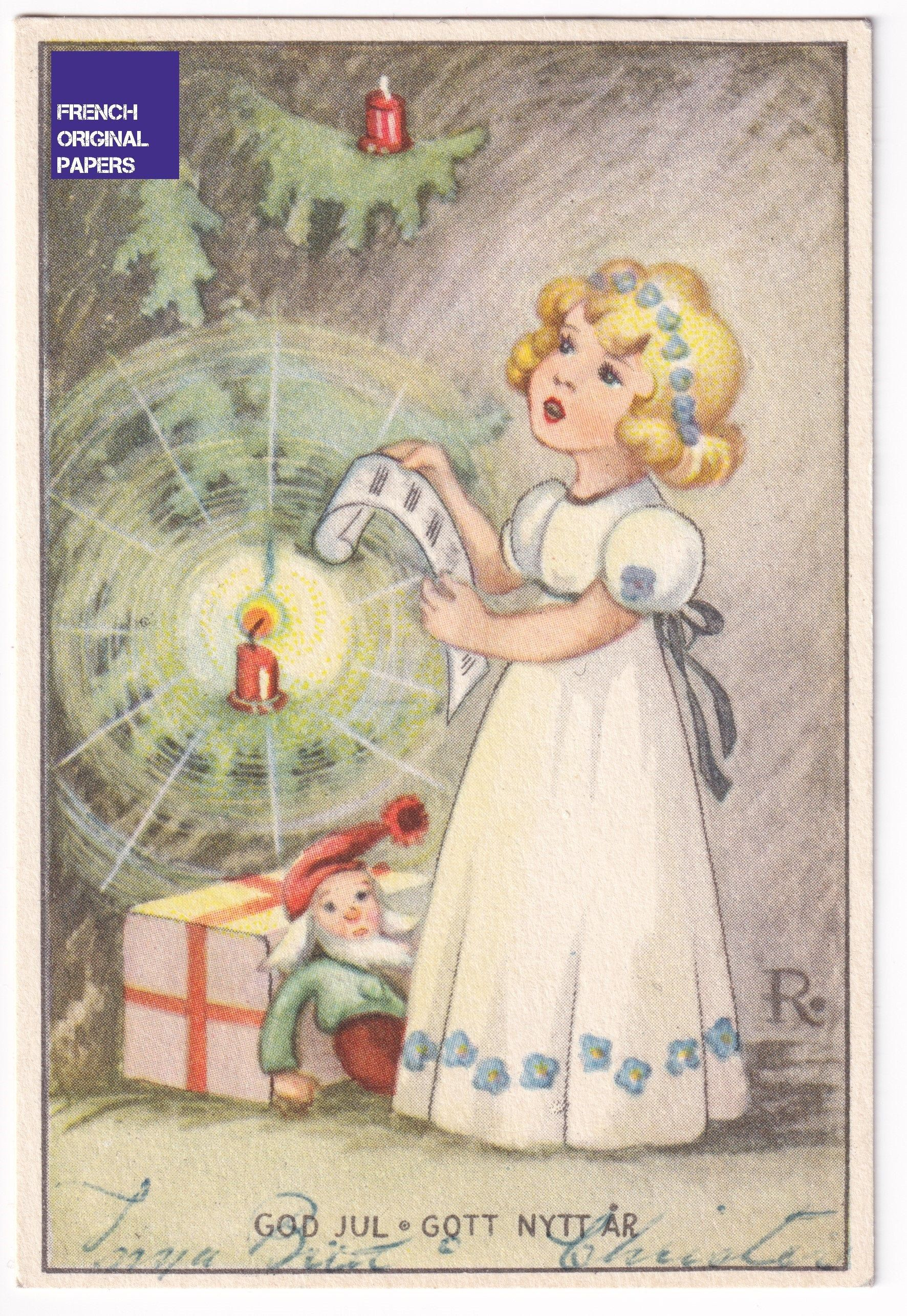 Merry Christmas God Jul 1951 Old Small Swedish Greeting Postcard Little Girl With Santa Claus Doll Gift Scandinavian Vintage Star Tree In 2020 Santa Claus Doll Postcard Vintage Christmas