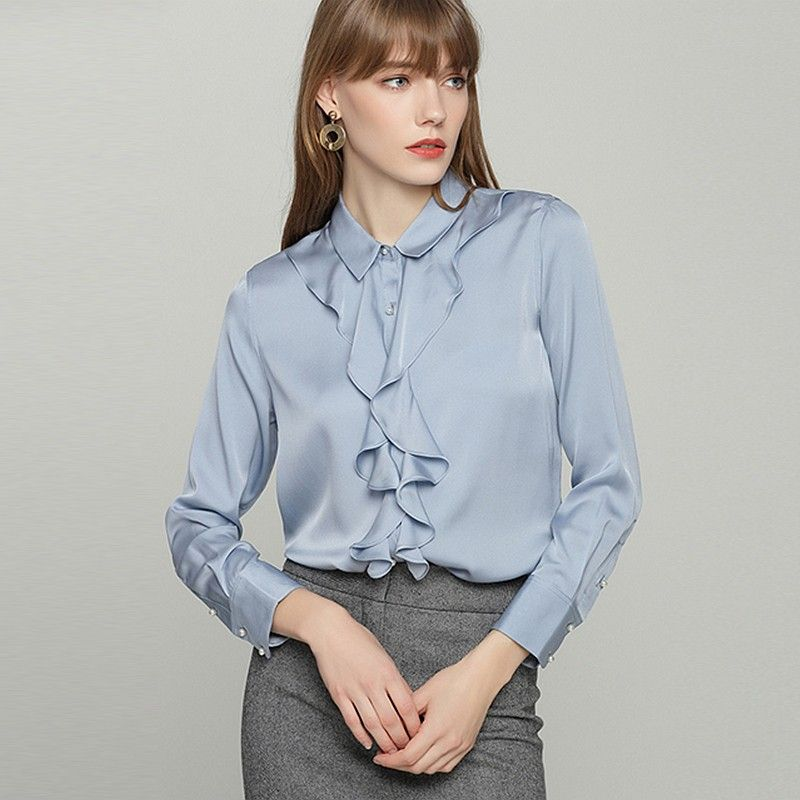 9eb9afe6d741 100% Heavy Silk Blouse Women Shirt Elegant Design Ruffles Long Sleeves 2  Colors Office Work