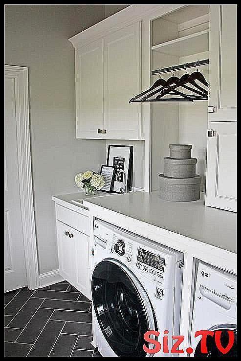 White laundry room with gray herringbone floor Whi #floor #Gray #herringbone #la...