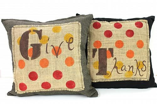 "Thanksgiving ""Give Thanks"" pillow set -- Remember to be thankful with this pillow set #sosoft"
