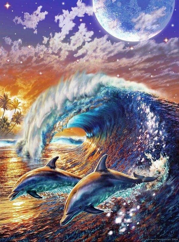 """DRAGON/'S DREAM FANTASY POSTER Adrian Chesterman  36/"""" x 24/"""""""
