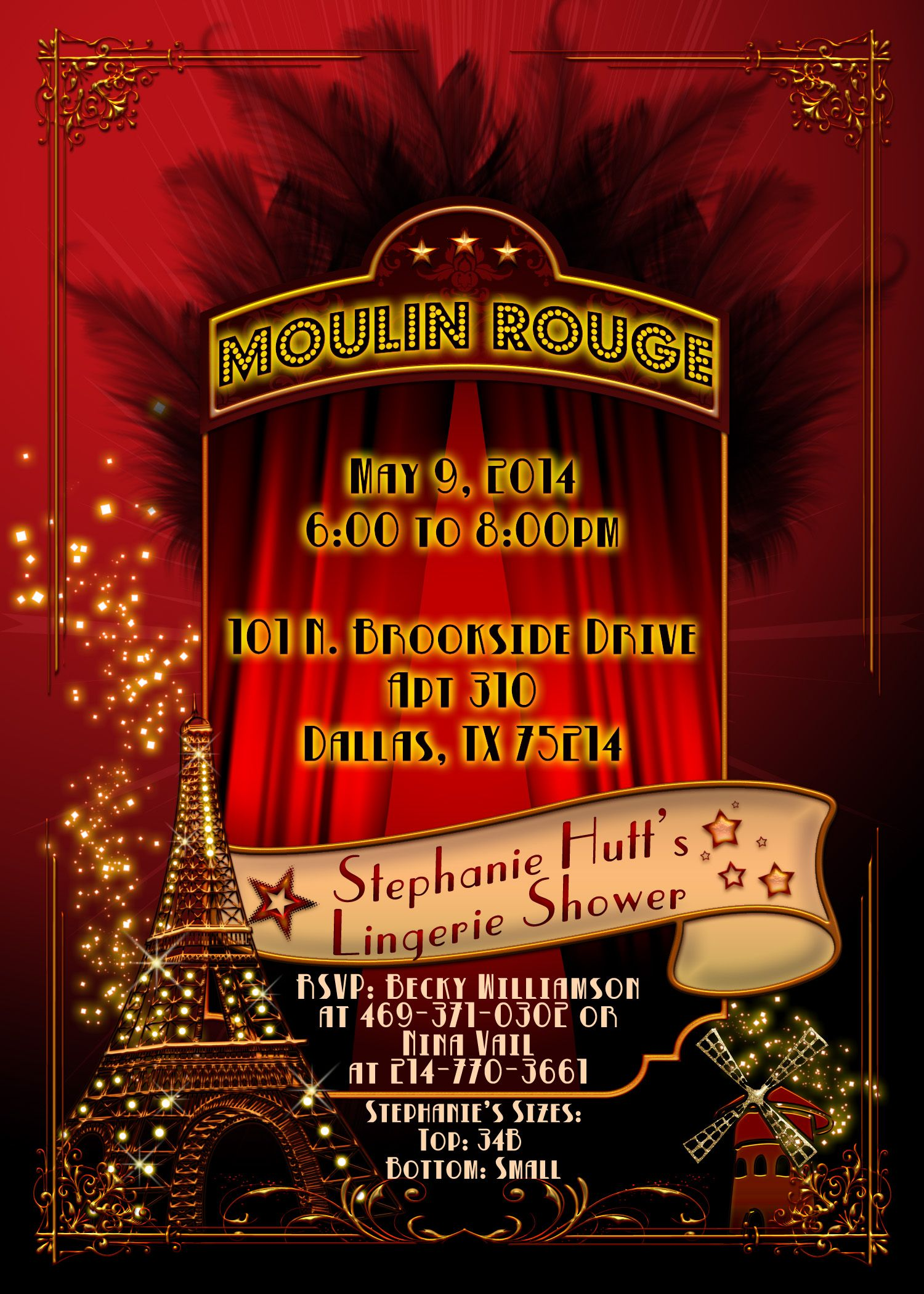 Great invitation by BellaLuElla Moulin Rouge Party Ideas