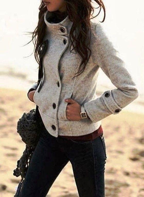 Grey Patchwork Band Collar Single Breasted Slim Fashion Coat