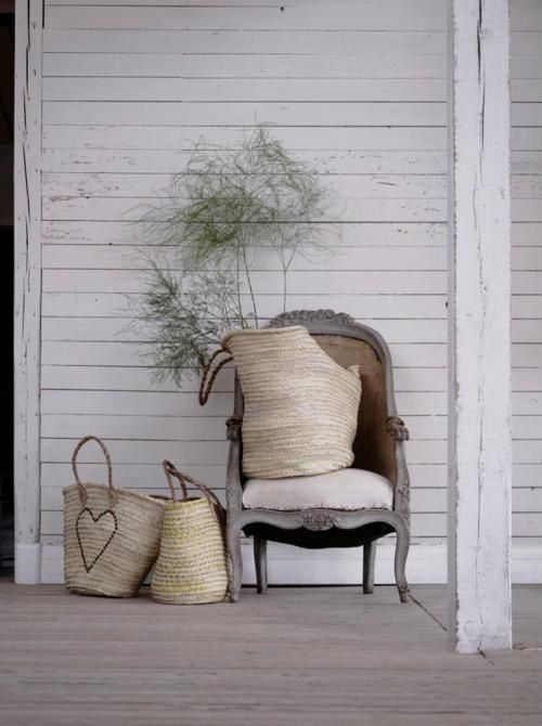 an elegant chair for a front porch ~ I love this idea!!  Be even more daring. Paint it silver.