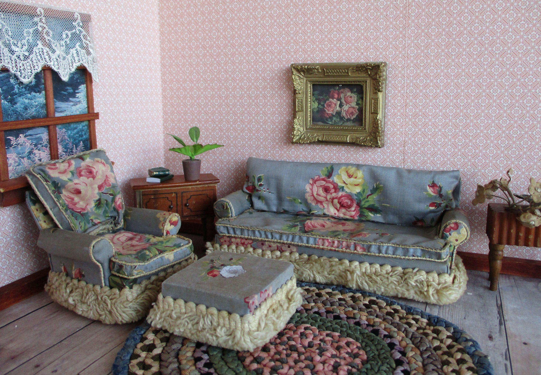 Vintage Dollhouse Furniture 3 Piece Upholstered Living Room Set