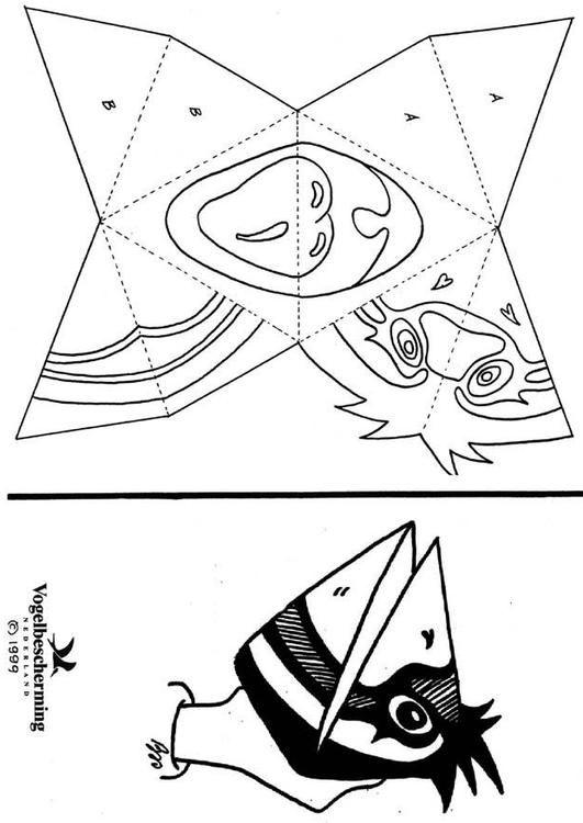 Dibujo para colorear Máscara de cara de pájaro. Ilustración ...
