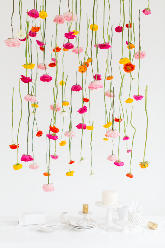 Diy hanging flower installation entertaining party ideas diy hanging floral installation sugar and cloth mightylinksfo