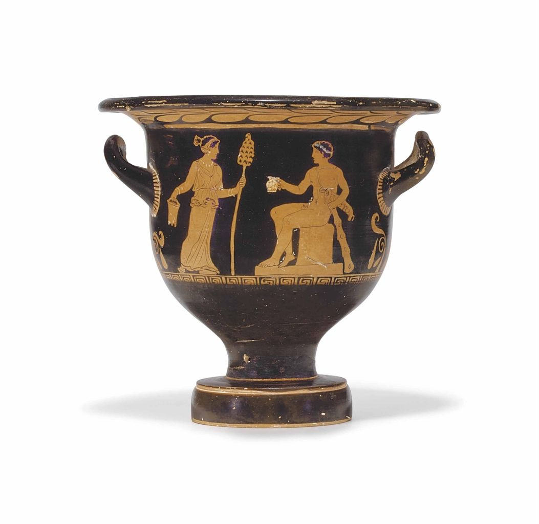 AN APULIAN RED-FIGURED BELL-KRATER ATTRIBUTED TO THE PAINTER OF THE LONG OVERFALLS, CIRCA 370-350 B.C.