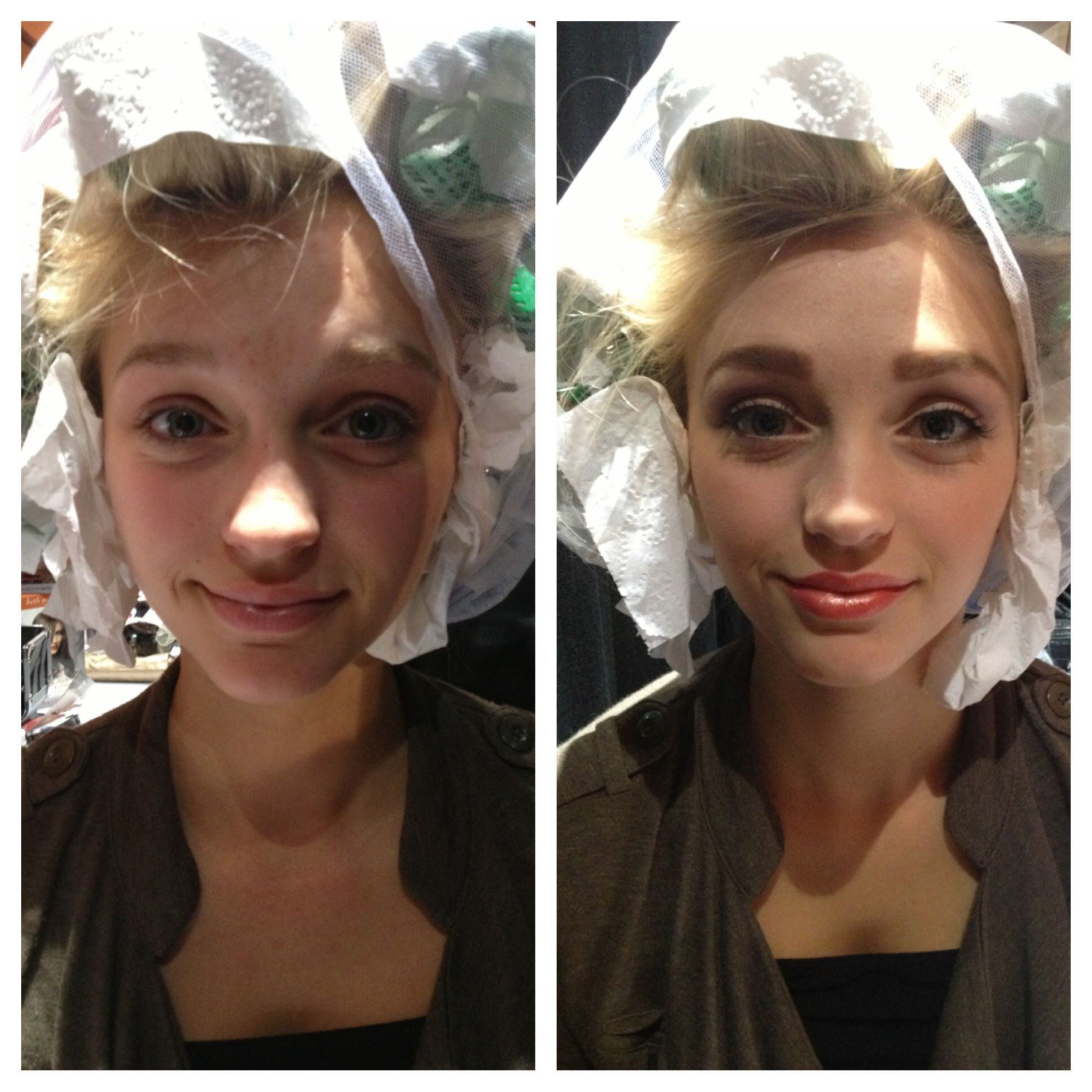 Before and after makeup for this gorgeous model backstage last year! Makeup by me.  -ECB