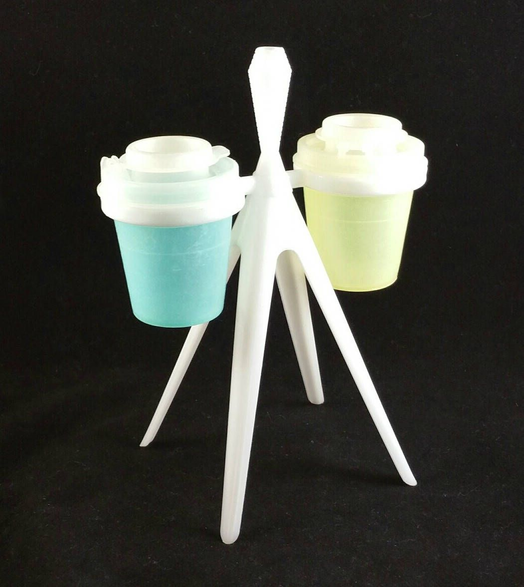 Vintage Tupperware Salt And Pepper Shaker Set On Stand, Tupperware ...