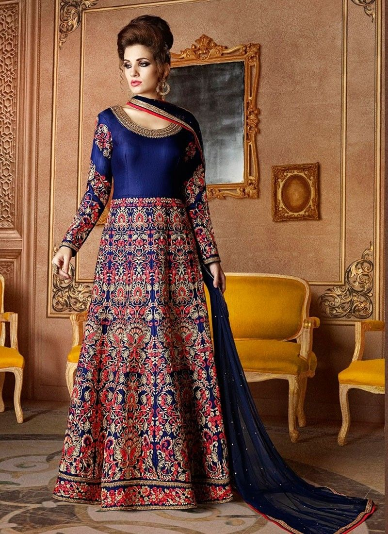 Shop online blue silk longlengthsalwarsuit chennaistore
