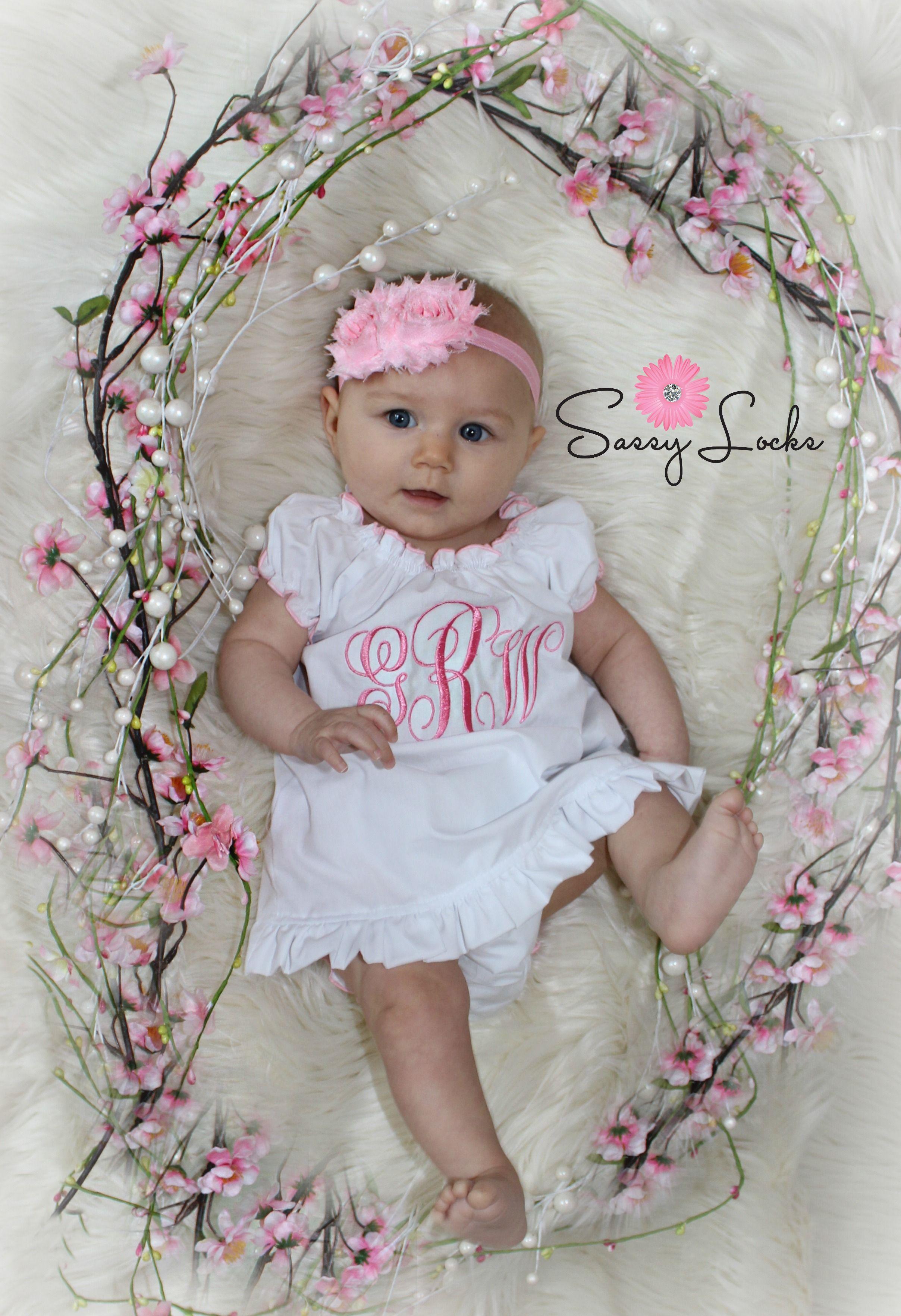 a6d71a5a15a6 Monogram Baby Girl Dress Ruffle Diaper Cover & Headband | Sassy ...
