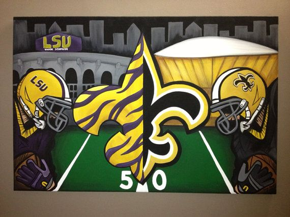 Saints And Lsu Combo Painting On Canvas Free Shipping Canvas Painting Lsu Painting Canvases