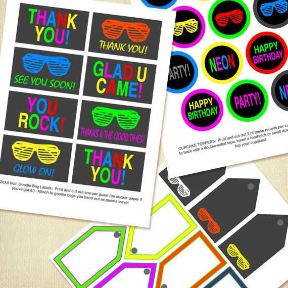 Neon Glow Parties Are Just So Much Fun Here S The Paper Pack You Need To Create A Pinterest Worthy Par Glow Birthday Party Neon Birthday Birthday Party Packs