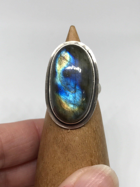 Blue Labradorite Crystal Ring Small Labradorite Ring Wire Wrapped Labradorite Ring Round Crystal Jewelry Wire Jewelry Blue Crystal Ring