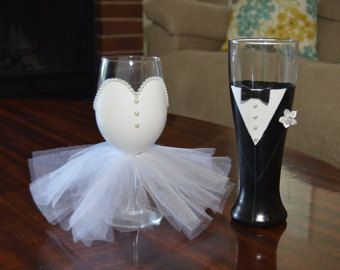 This Hand Painted Bridal Wine Glass With Tulle Skirt And