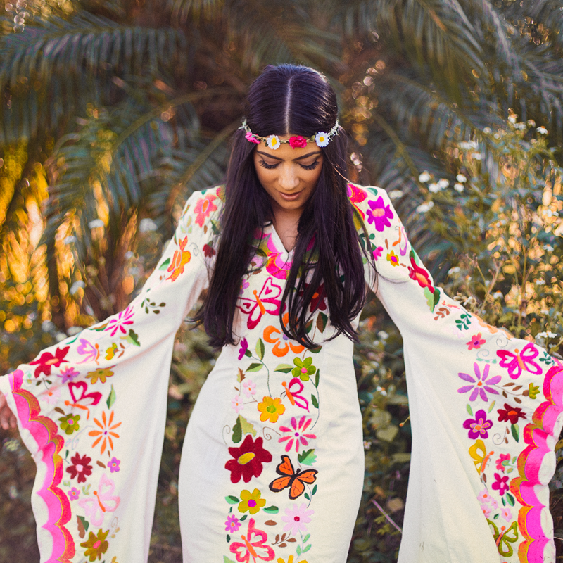 Beachy Bohemian Wedding Dress With Mexican Embroidery NewCropshop.com