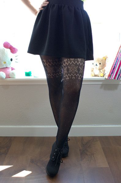 Winter Wonderland Tights Cute Black Knit Tights With Snowflake And