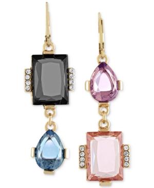 Rachel Rachel Roy Gold Tone Mismatched Stone Drop Earrings