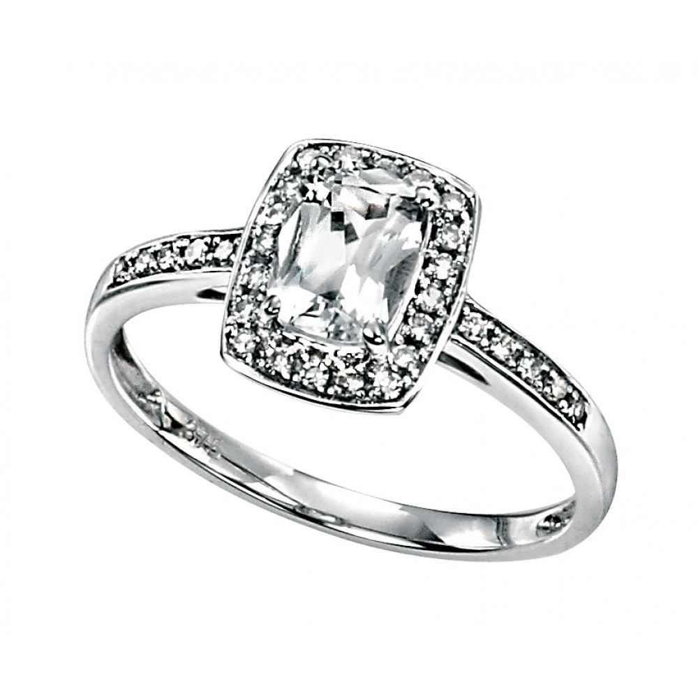 9ct White Gold Diamond And White Topaz Ring